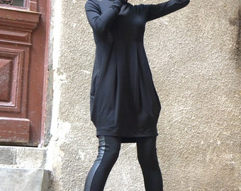 New Sexy Turtle Neck  Black Tunic Top / Long sleeves with side pockets /Extravagant Cotton Blouse by AAKASHA A02520