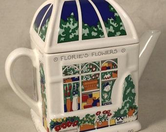 Flower Teapot Floral Teapot Shop Building Ceramic England