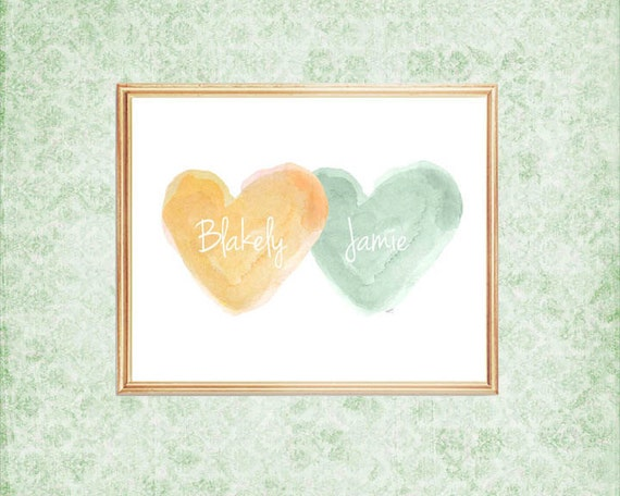 Green and Yellow Hearts Nursery Print Personalized with Names, 8x10