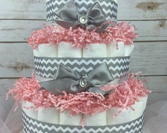 Diaper Cake - Light Pink & Grey Chevron Baby Shower Diaper Cake Centerpiece