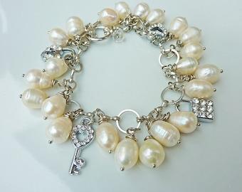 Bridal Ivory White Freshwater Pearls Cluster Charm Bracelet