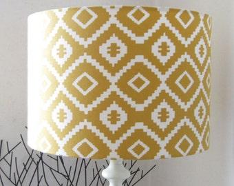Yellow & White Modern, Geometric Design Drum Lampshade (Suits Uk / European Light Fitting))