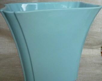 SALE! 20% OFF! Alamo Pottery Vintage Aqua Blue Vase Planter Marked