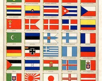 Flags Various Nations Great Britain British Colonies Flag Print 1930's Original Wall Decor