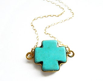 Turquoise Cross Necklace, Turquoise Necklace, Cross Necklace, Turquoise Jewelry, Cross Jewelry