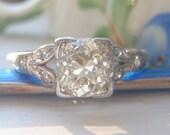 Spectacular Art Deco Vintage Diamond Engagement Ring. 1 Carat Old European Cut Diamond. Platinum. Vintage Engagement Ring Bliss.