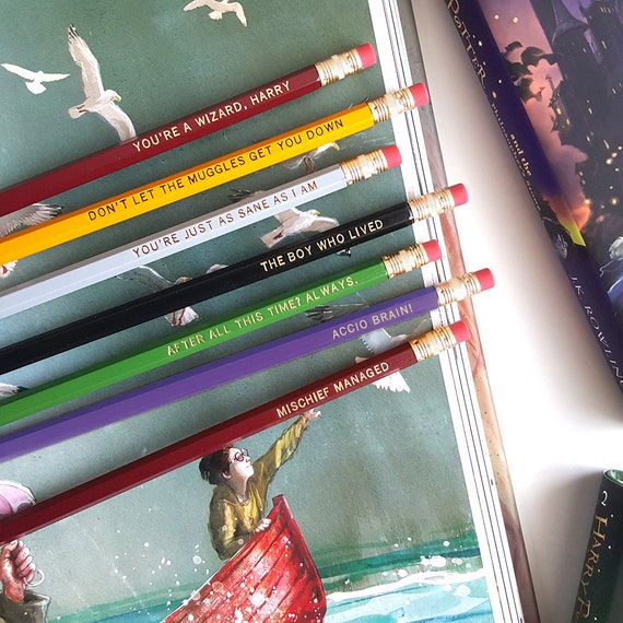 Set of 7 Harry Potter Pencils — Imprinted Pencils, Engraved Pencils, Mischief Managed, Accio Brain, The Boy Who Lived, You're a Wizard Harry