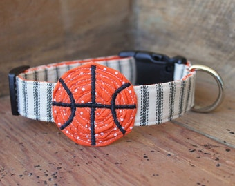 Basketball Dog Collar - Black Ticking Stripe with Basketball