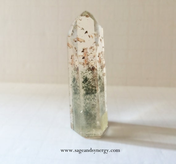 Clear Quartz, Point, Channeling Crystal, Moss Inclusions, Brazilian Quartz, Psychic Channeling, Polished Point, Medium, Polished Quartz