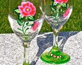 Mother's Day Gift Hand Painted Wine Glasses With Pink And Red Roses, Free Wine Glass Charms, Gifts For Her