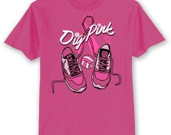 BCA DIG PINK Breast Cancer Awareness Volleyball Shoes Ribbon Pink T Shirt