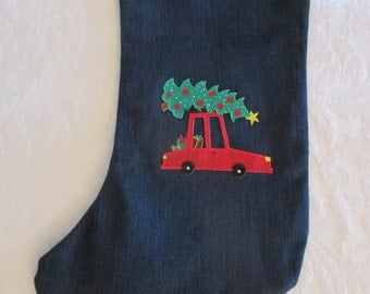 Up-Cycled Denim Blue Jeans Decorated Christmas Stocking - Re-purposed - Fully Lined - Large Size - Car with Gifts & Tree