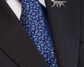 Flat-Coated Retriever brooch - sterling silver.
