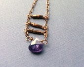 Long Copper Amethyst Necklace, Faceted Purple Teardrop Crystal Pendant, Bronze Cut Glass, Modern Boho Bohemian Chic Jewelry, Ladder Necklace