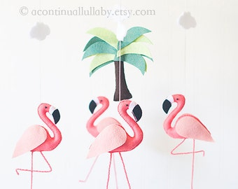 coral pink big flamingo mobile wool felt flamingo baby girl mobile flamingo nursery