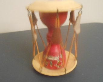 Vintage Asian Baby Toy Decorated w/image of rickshaw scene & teeter totter scene w/ red wood background,Metal,wood, leather components