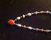 Vintage Antique Silver, Lapiz, Turquoise, and Carnelian Trade Bead Necklace