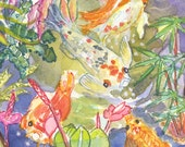 Koi at Lincoln Park Conservatory Greeting Card, by Michelle Kogan, Watercolor, Painting, Just Because Cards, Note Cards, Blank Cards
