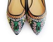 Sale, Boho shoes, Flat shoes, Black leather Ballerina shoes, Floral shoes, Women's shoes, Designer shoes, Retro shoes, Comfortable shoes