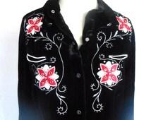 Vintage Western Style Velvet Beaded Flower Design Cowgirl Chic Rodeo Queen Rockabilly Shirt
