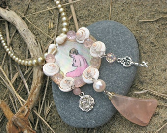 Mermaid's Grotto OOAK Wearable Art Assemblage Collage Flapper Blush Shell Pendant Necklace
