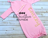 Newborn girl personalized gown - Monogram gown - Pink and Gold glitter gown - Matching hat - Personalized hospital gown - baby shower gift