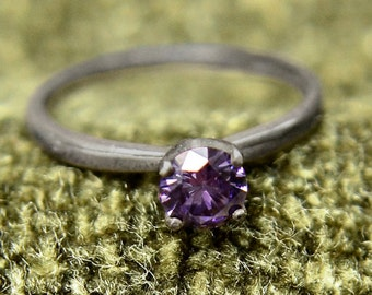 Amethyst Ring, Blackened Silver Ring with Amethyst Gemstone, February Birthstone Ring, Abish Jewelry Works