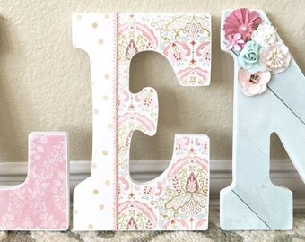 Custom Nursery Letters- Baby Girl Nursery Decor-Bohemian-Gold-Personalized Name-Wooden Hanging Letters-Nursery Wall Letters-The Rugged Pearl