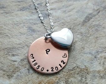 Memorial urn necklace with dates memorial jewelry heart urn necklace remembrance jewelry loss of a loved one pet loss cremation jewelry