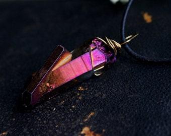 Large deep magenta/amber titanium aura crystal quartz necklace
