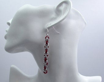 Red and Silver Chainmaille Earrings - Byzantine Weave Earrings - Nickel Free Handmade Chainmail