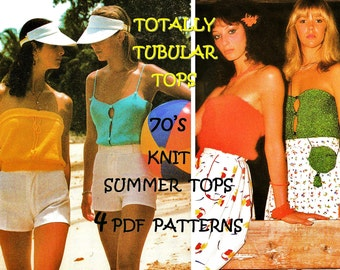 Digital Download Hippie Sizzling Knitted Summer Tube Tops PDF Pattern - All 4 Top Patterns Included Instant Download PDF Knit Pattern File