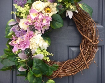 Easter Wreaths, Easter Door Decor, Purple, White, Hydrangea Wreath, Spring Hydrangeas, Purple Wreaths, Easter Decor, Purple Door Wreaths