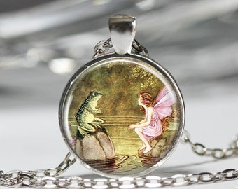 Fairy Tale Jewelry, Fairy Frog Whimsical Pendant, Vintage Fairy Tale Necklace [A91]