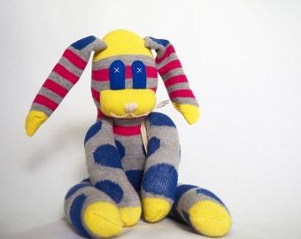 Ryan Rabbit. Blue striped sock bunny, sock animal, soft plush toy rabbit.