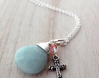 Hope Necklace: Silver Wire Wrapped Blue Green Amazonite Handmade Pendant with Cross and Crystal bead Charm Christian Religious Jewelry