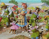 Alfred Mainzer Cats in the Garden vintage postcards Downloadable Art Graphic Image
