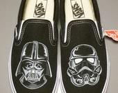 Custom Vans Star Wars Darth Vader Stormtrooper Handpainted Shoes Slip-On
