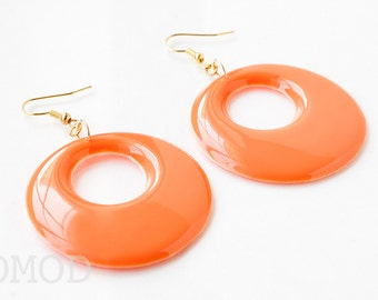 Mod earrings, 60s hoop earrings, Orange earrings, Mod Orange Hoop earrings, Vintage dangle earrings, Orange Mod Earrings