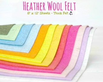 "Heather Wool Felt  - Thinck Heather Wool Felt Sheets - 3 x Wool Felt Sheets of  8"" X 12"" or 6 x Wool Felt Sheets of 6"" x 8"" - Choose Colors"