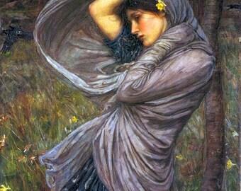 Wind Blown Woman! Digital Download. Pre-Raphaelite Digital Painting Download. Art To Print! Digital Waterhouse To Print!