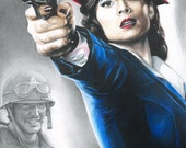 Drawing Print of Agent Carter and Captain America (Hayley Atwell and Chris Evans)