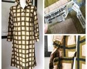 Vintage Marimekko Dress 1973 / Size 40 , 12 , Medium / Finland Square Shirt Dress