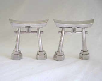 Vintage Shakers, Shinto Shrine, Torii Gate, Salt Pepper Set, Solid Silver, Japanese Silver, Silver Shakers, Kyoto Torii, Collectible Shakers