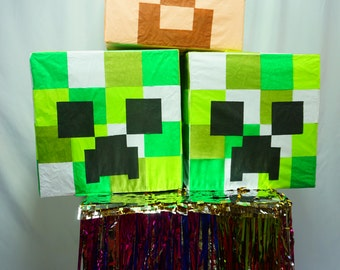 Creeper Head Pinata Inspired by the Awesome Minecraft Game | Minecraft Party Decor | Fun Party Game | Center Piece Pinata | Fun Photo Prop