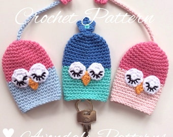 Crochet Pattern Owl Key Cosy, keycover, cozy, uk or us crochet terms, No18