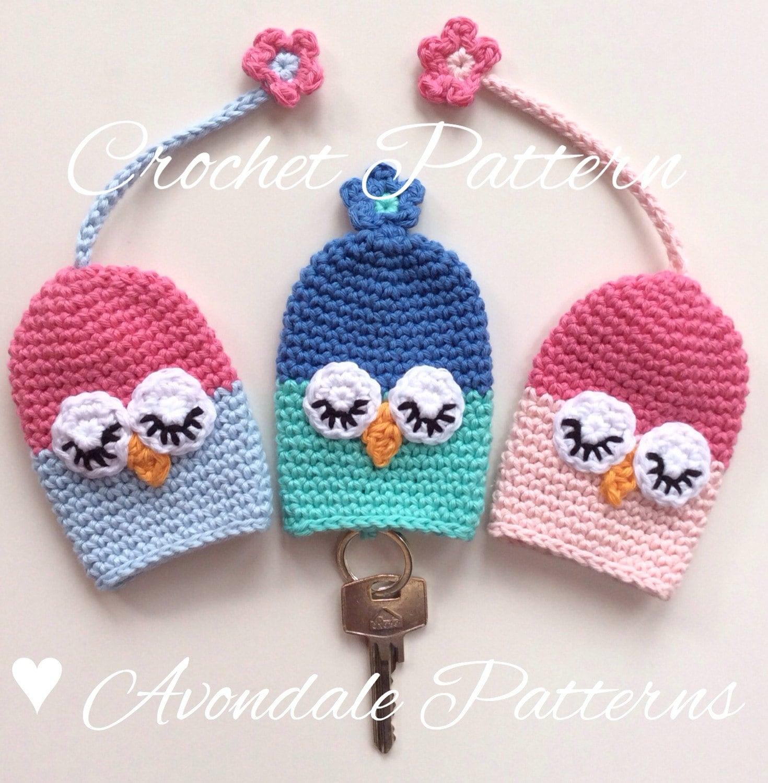 Crochet Patterns Key : Crochet Pattern Owl Key Cosy keycover cozy uk or us crochet