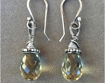 Green Amethyst drop earrings wrapped with sterling beads and wire.