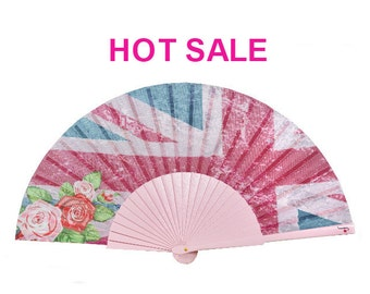 Designer HAND FAN   grunge Union Jack design with roses and light pink painted ribs   womens accessories   gift   Free Shipping Worldwide