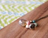 "czech glass bead cluster 26"" necklace - multi peach cream gold mint"